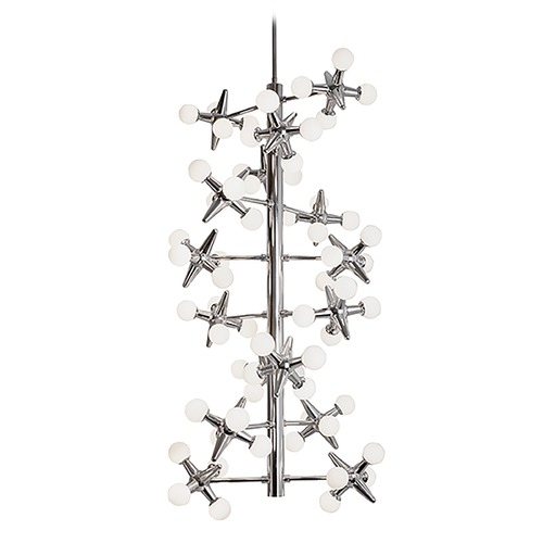 Modern Chrome LED Chandelier with White Opal Shade 3000K