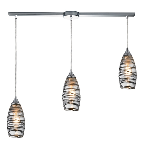Modern Multi-Light Pendant Light with Clear Glass and 3