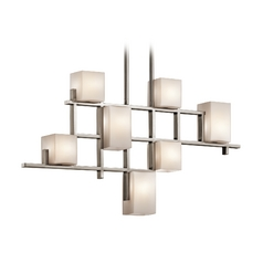 Kichler Modern Chandelier With White Glass In Classic Pewter Finish