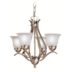 Kichler Mini Chandelier With White Glass In Brushed Nickel Finish