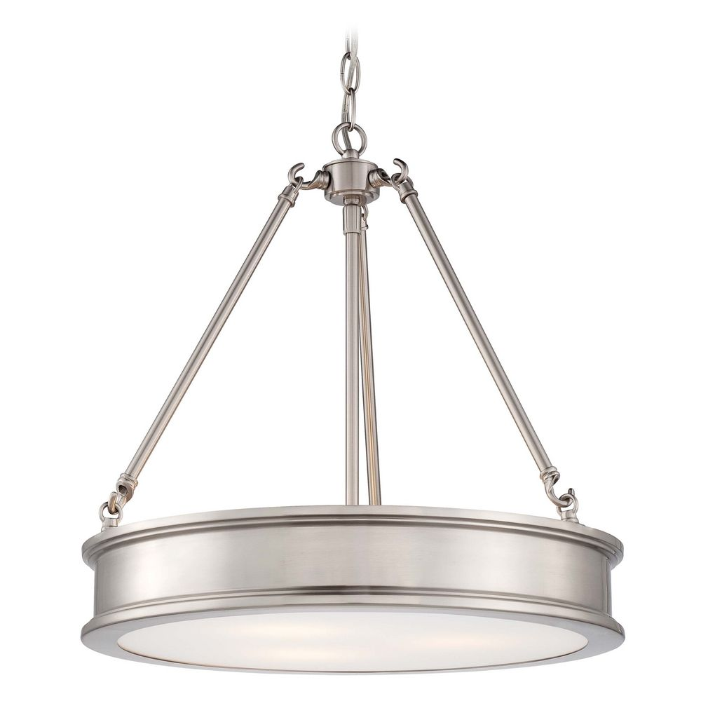 Drum Pendant Light with White Glass in Brushed Nickel