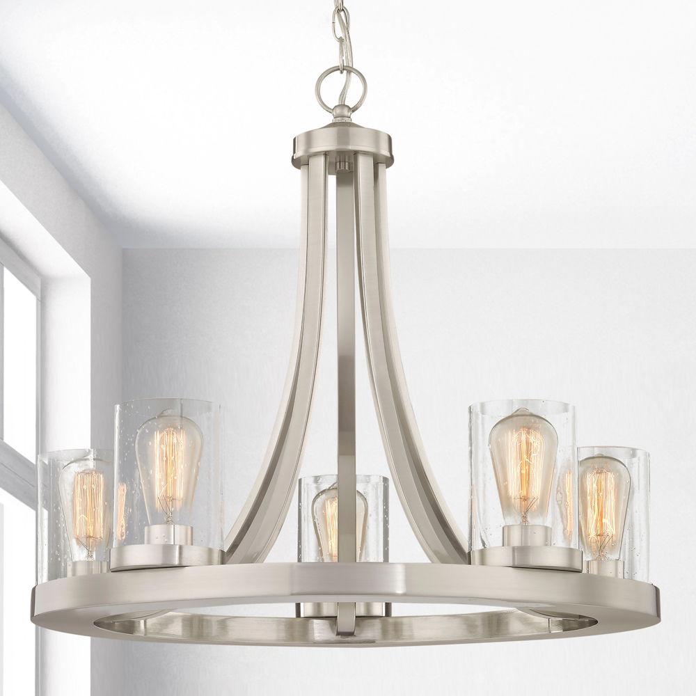 industrial seeded glass chandelier satin nickel 5 lt at destination lighting