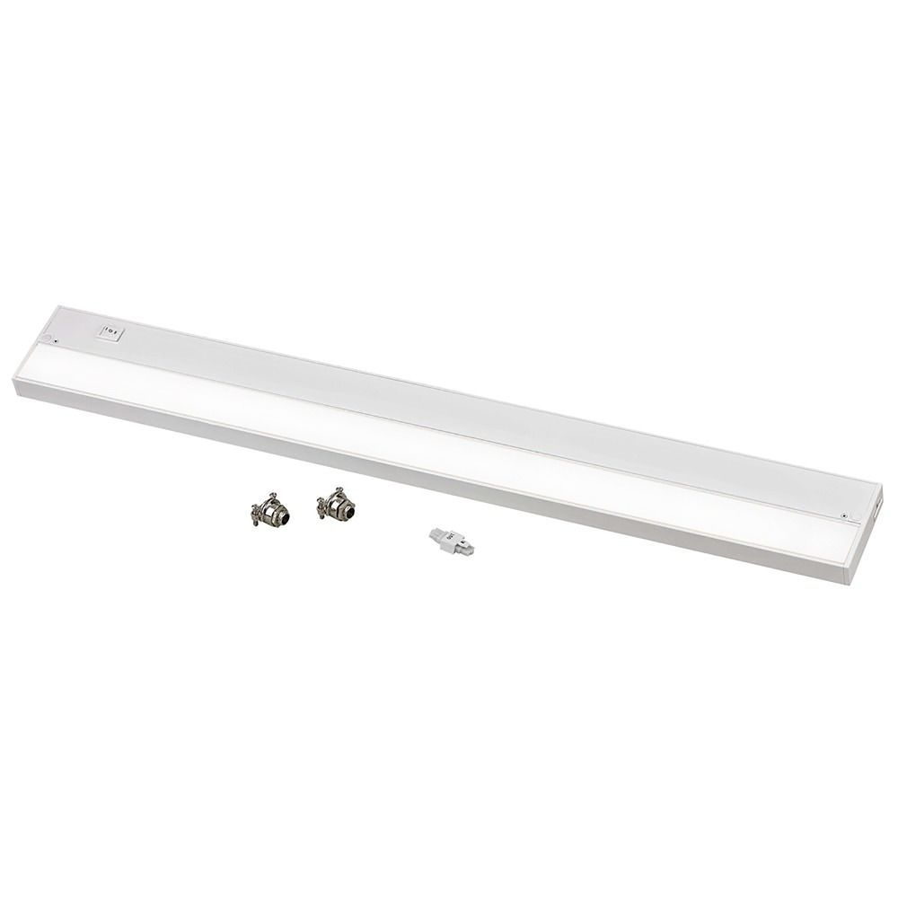 30 inch led under cabinet light direct wire plug in 3000k 120v white by recesso lighting at destination lighting