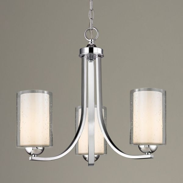 Seeded Glass Mini Chandelier 3-lt Chrome 5843-26 Gl1061 Gl1041c Destination Lighting