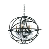 Modern Crystal Orb Pendant Chandelier Light in Bronze
