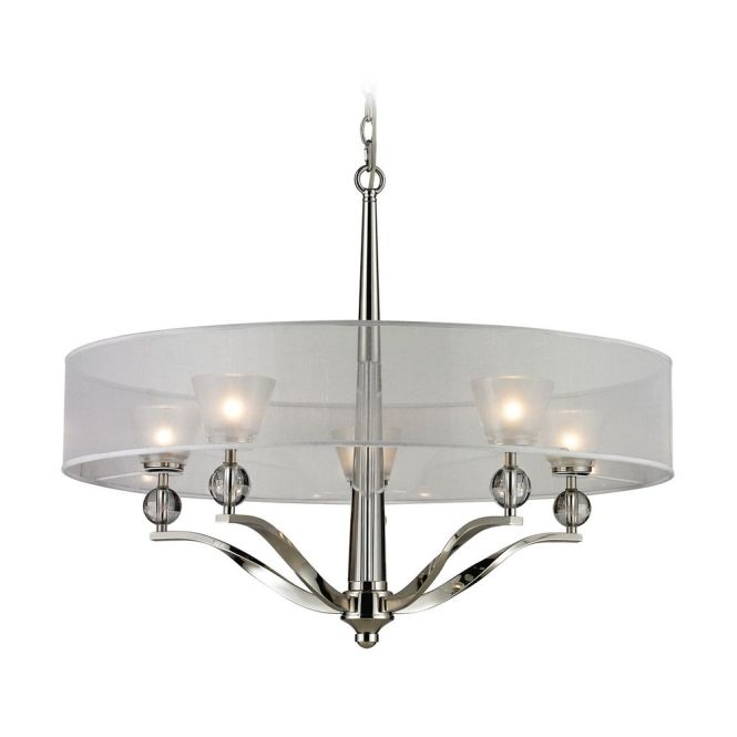 Modern Chandelier With Silver Shade In Polished Nickel Finish