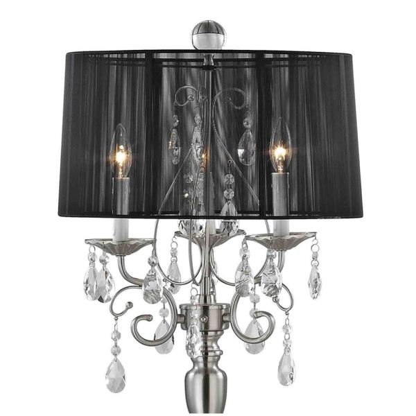 Crystal Chandelier Floor Lamp With Black Drum Shade In Satin Nickel