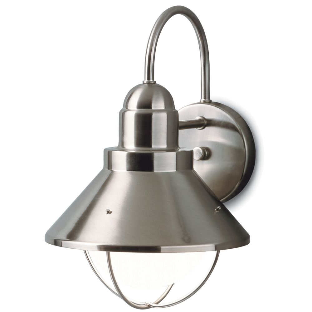 kichler outdoor nautical wall light in brushed nickel finish at destination lighting