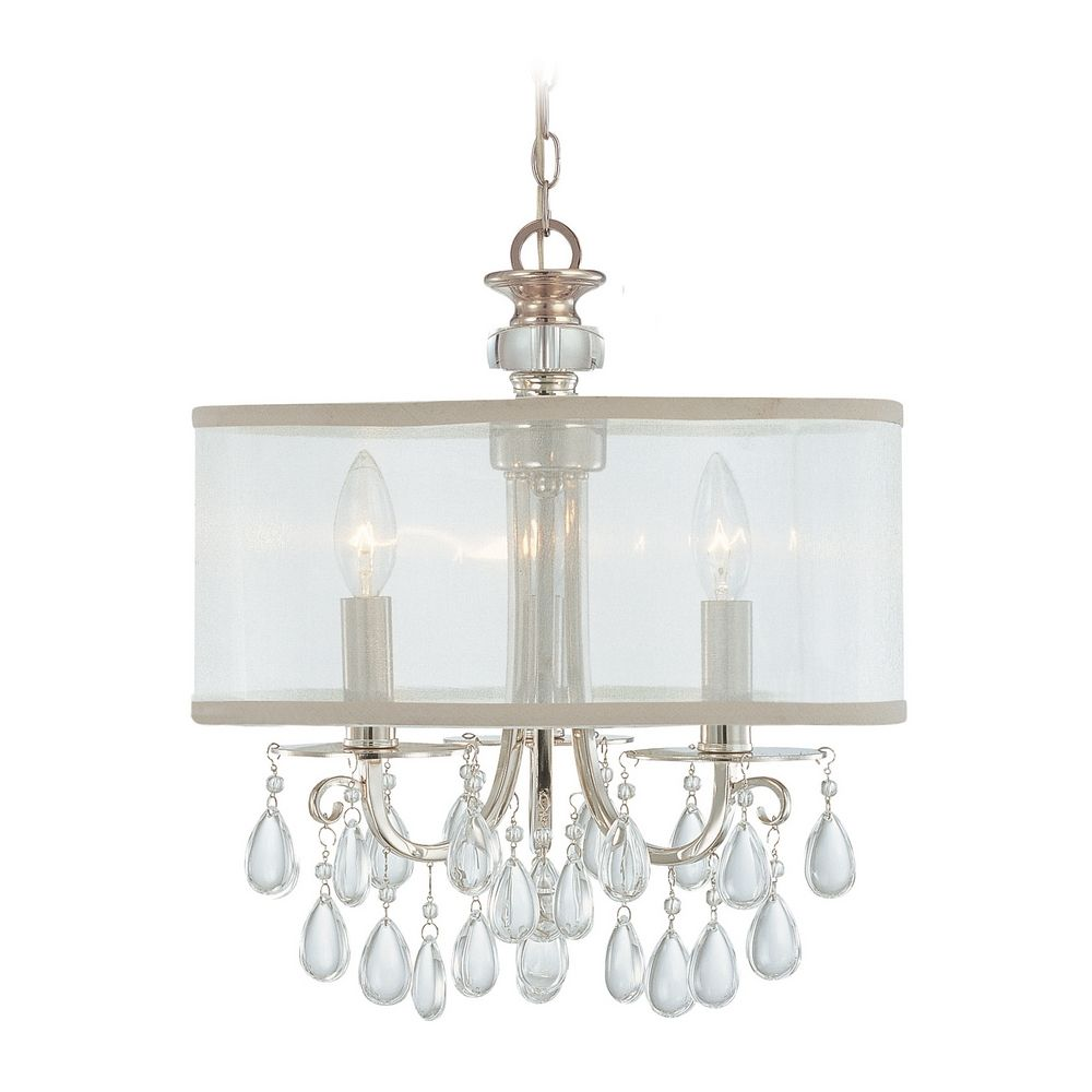 Crystal MiniChandelier with White Shade in Polished Chrome Finish  5623CH  Destination Lighting