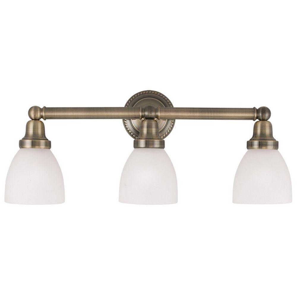 Livex Lighting Classic Antique Brass Bathroom Light  1023