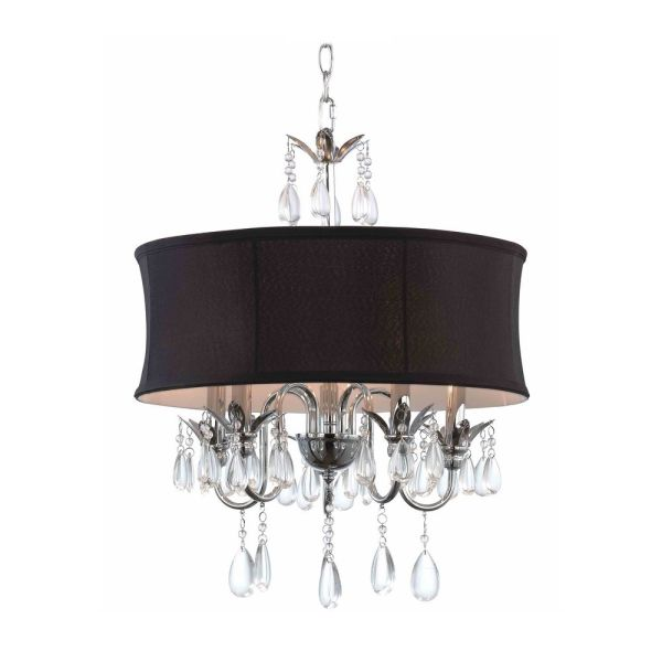 Black Drum Shade Crystal Chandelier Pendant Light 2234 Bk Destination Lighting