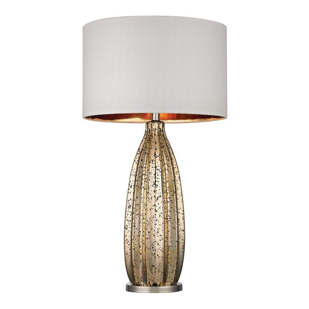 Table Lamp with White Shades in Antique Gold Mercury with