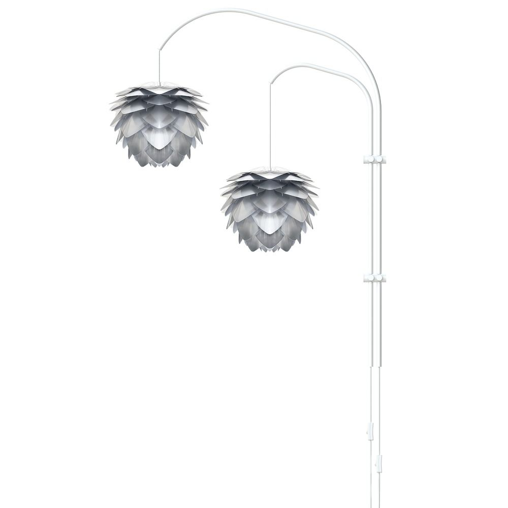 UMAGE White Two-Light Wall Lamp with Steel Foil Metal