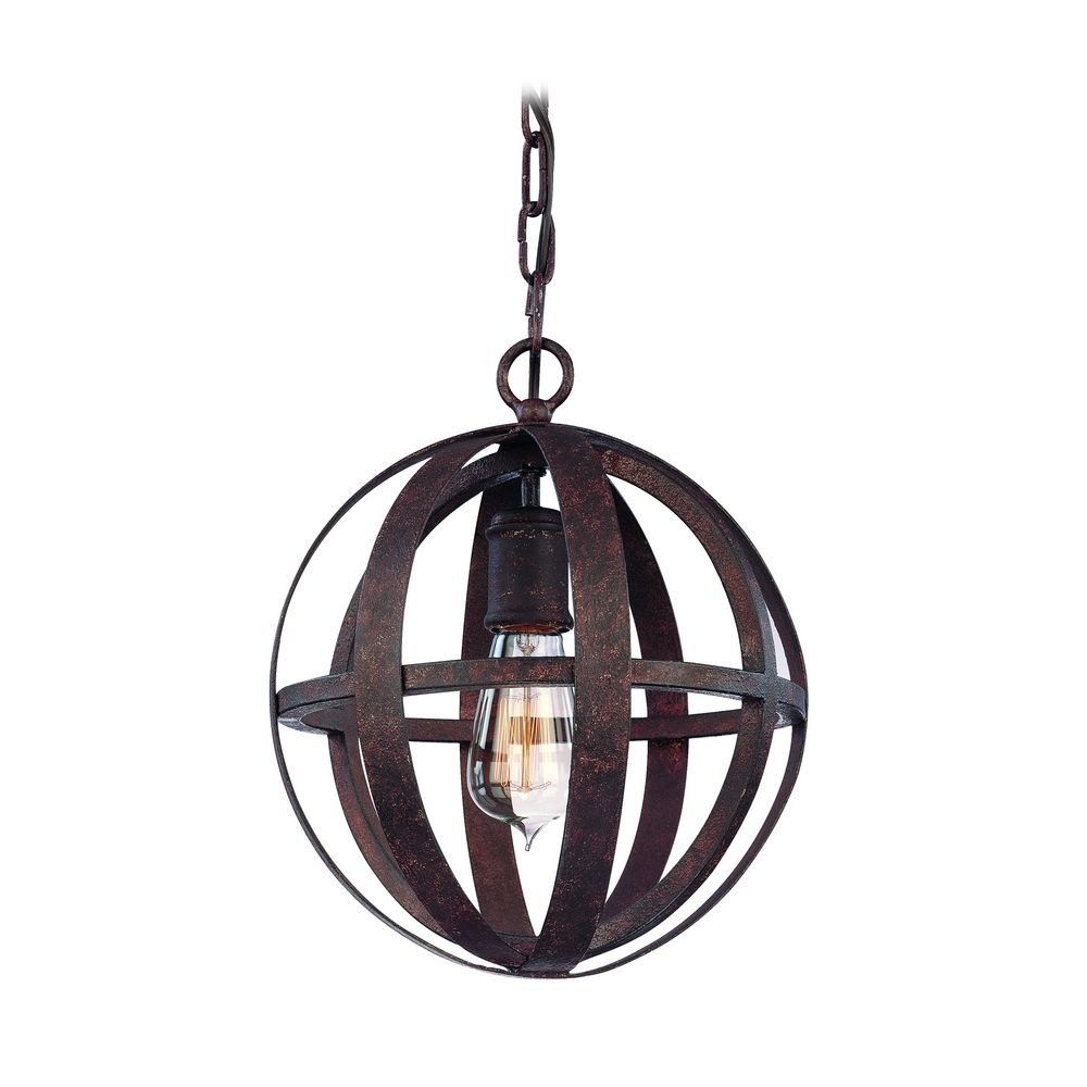Small Orb Pendant Light in Weathered Iron Finish