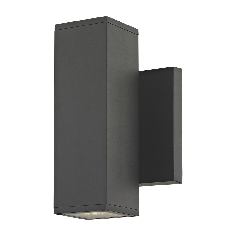 LED Black Outside Wall Light Square Cylinder Up / Down