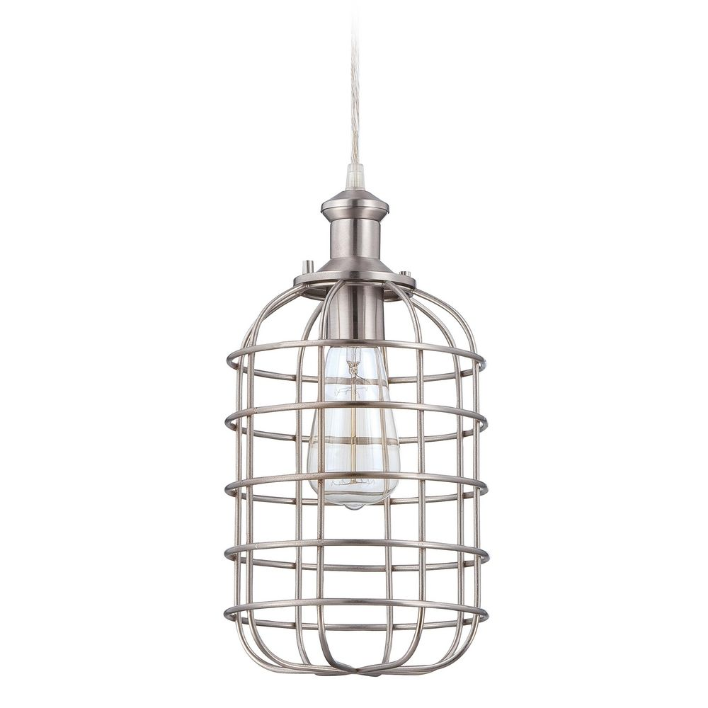Farmhouse Pendant Light Polished Nickel with Wire Cage