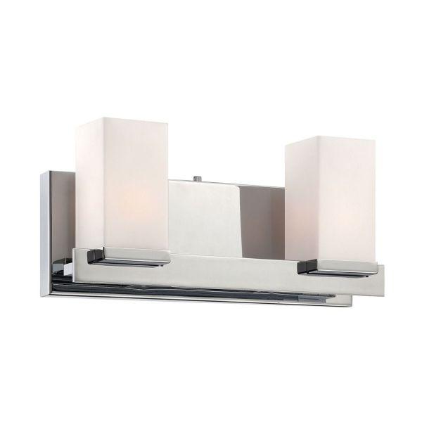White and Chrome Bathroom Vanity Lights