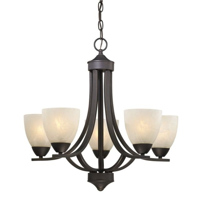 Design Classics Lighting 5 Light Chandelier With Alabaster Glass In Bronze 222 78