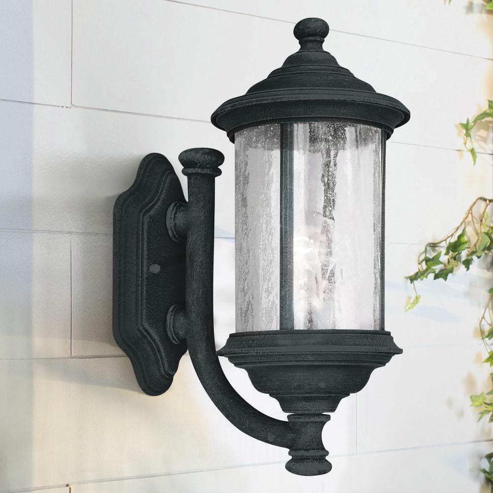 seeded glass outdoor wall light black 15 inch dolan designs at destination lighting