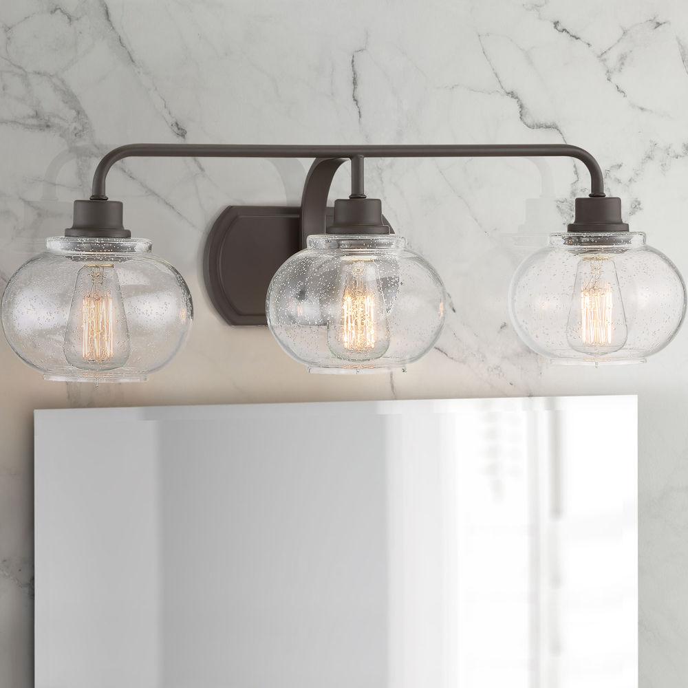 vintage seeded glass 3 light bathroom light in bronze finish at destination lighting