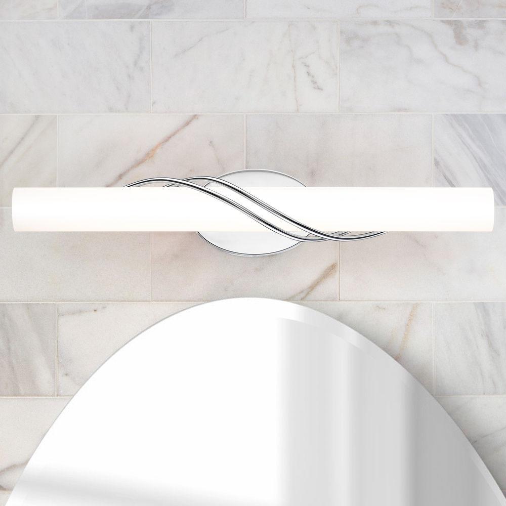 quoizel lighting serenade polished chrome led vertical bathroom light 3000k 3291lm at destination lighting
