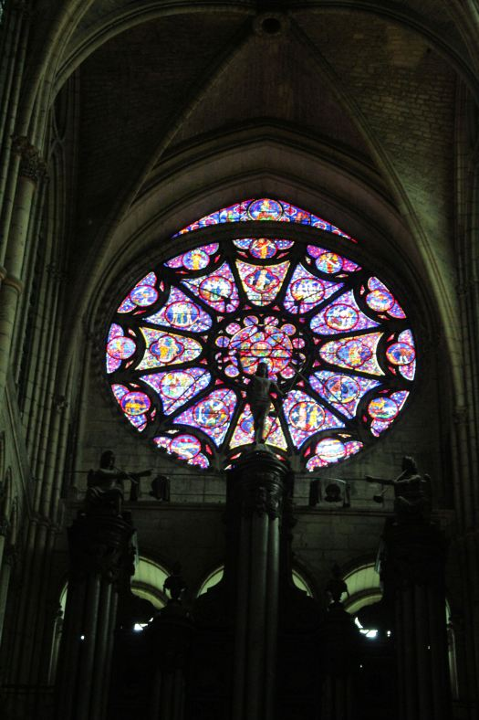 Rose Stained Glass Windows in Notre Dame Cathedral