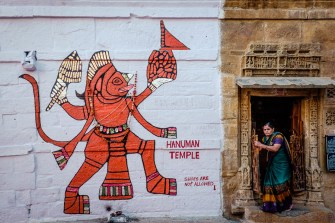 Woman leaves the Hanuman temple