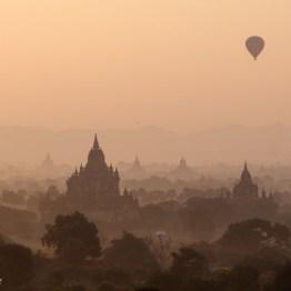 Hot air balloon floating over Bagan Pagoda