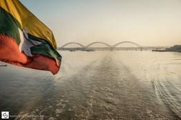 Myanmar flag of boat on Ayeyarwady river
