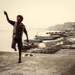 Flying kites along the Ganges river