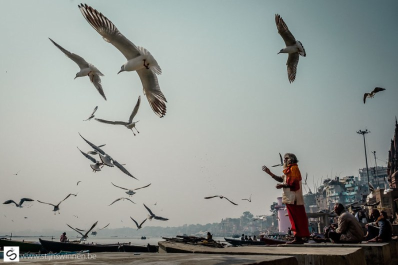 Sadhu feeding bird near Ganges river