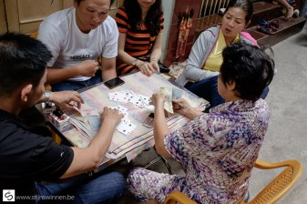 Playing cards on the street