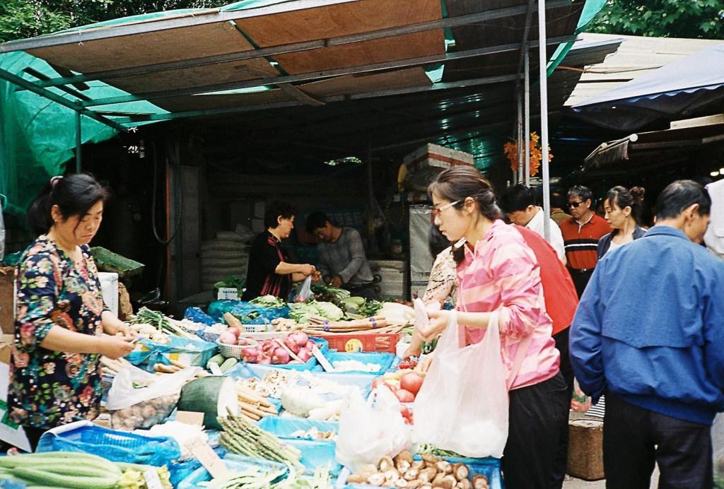 Mercado de frutas e vegetais em Qingdao
