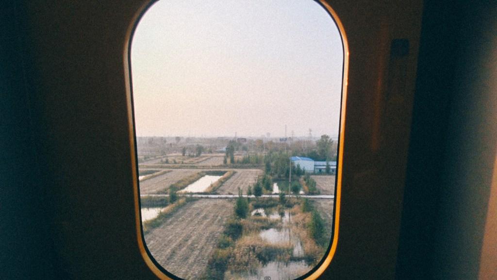 Como comprar da coreia do sul Janela do trem com vista para o interior da China