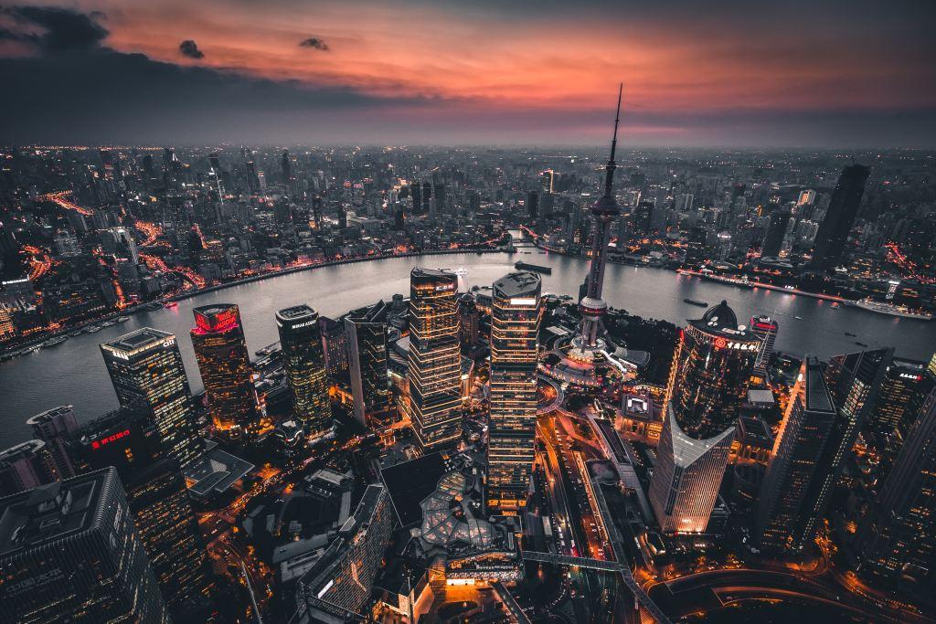 Xangai Vista panorâmica de Xangai noturna