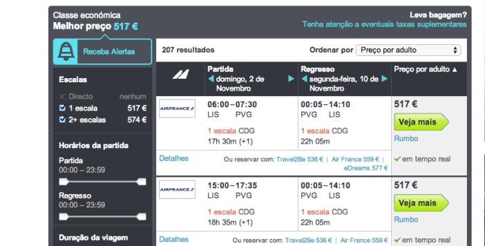 Pesquisa de voos Lisboa a Xangai no Skyscanner