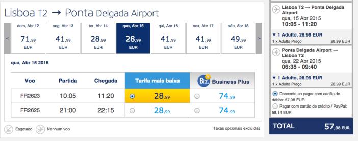 Voos baratos Ryanair para os Açores