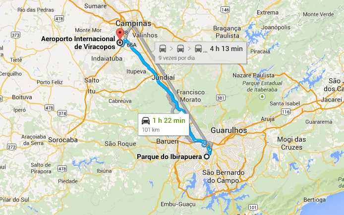 Transportes do aeroporto de Viracopos / Campinas até São Paulo