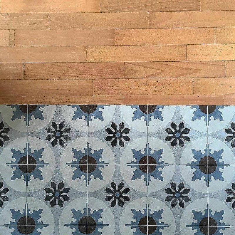 carrelage imitation carreaux ciment bleu marron blanc cementine