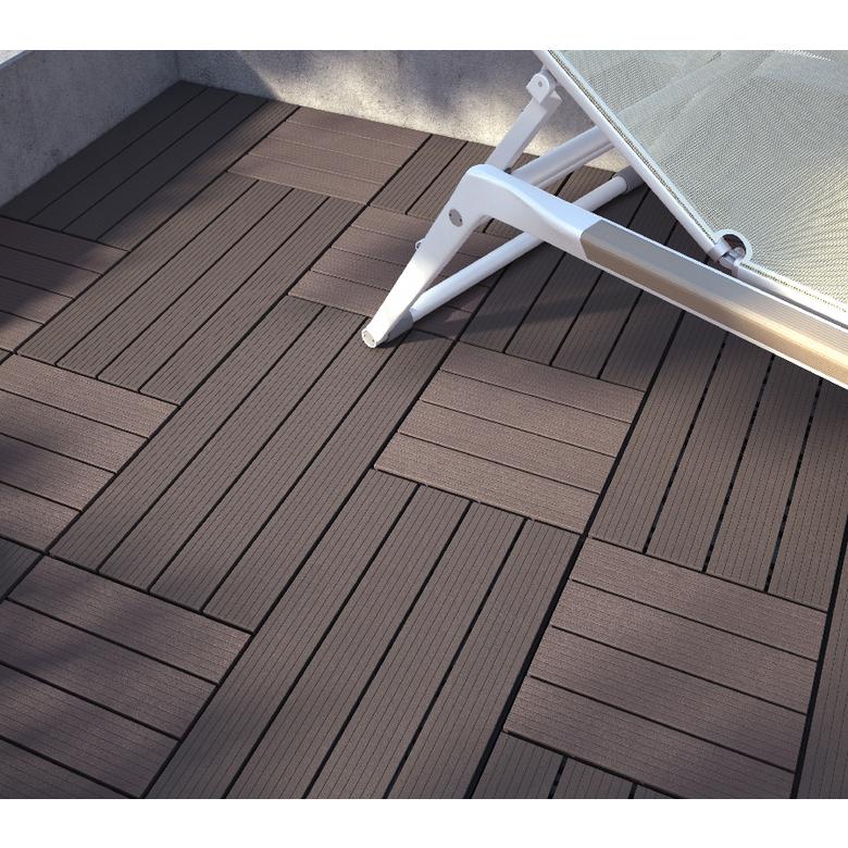 Dalle De Terrasse Clipsable Composite Marron 30x30cm Toulouse
