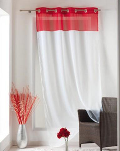 panneau voilage bicolore blanc rouge