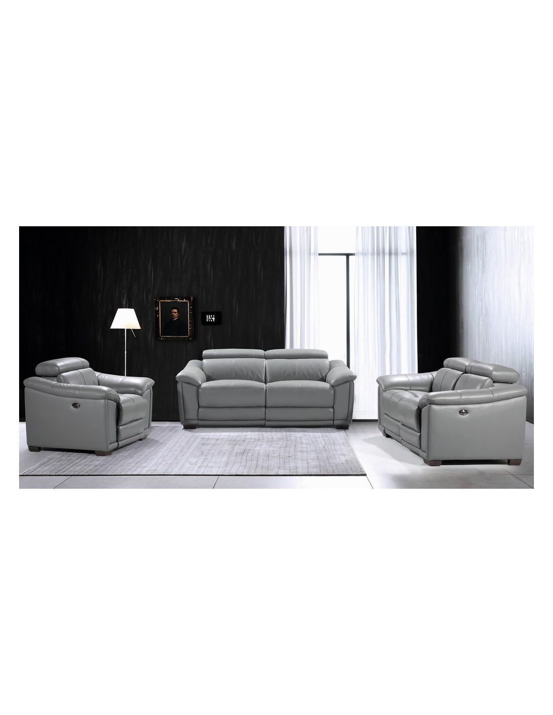ensemble canape relax electrique alexander en cuir gris craquez p