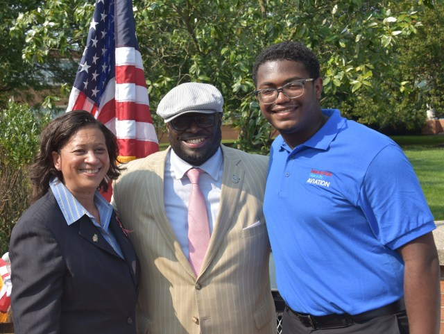 (L-r) Dr. Joi Spraggins of the Legacy Academy, University President Tony Allen, and scholarship recipient Preston Stanberry.