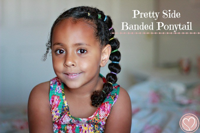 Pretty Side Banded Ponytail Curly Mixed Hairstyles