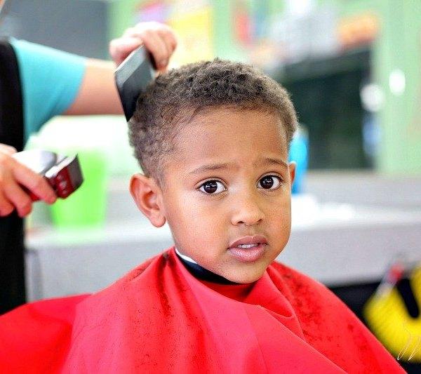 Biracial Boy Curly Haircut: Baby's First Buzz Cut