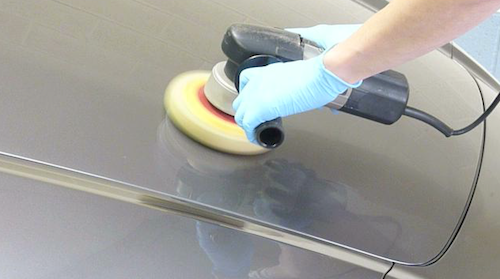 Polishing a car