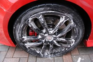 Cleaning a wheel with an All Purpose Cleaner