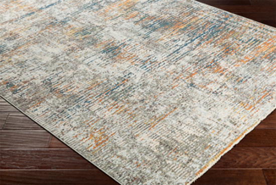 Modern Teal Orange Gray Area Rug - Details Full Service Interiors - Interior Decorating in Western MA