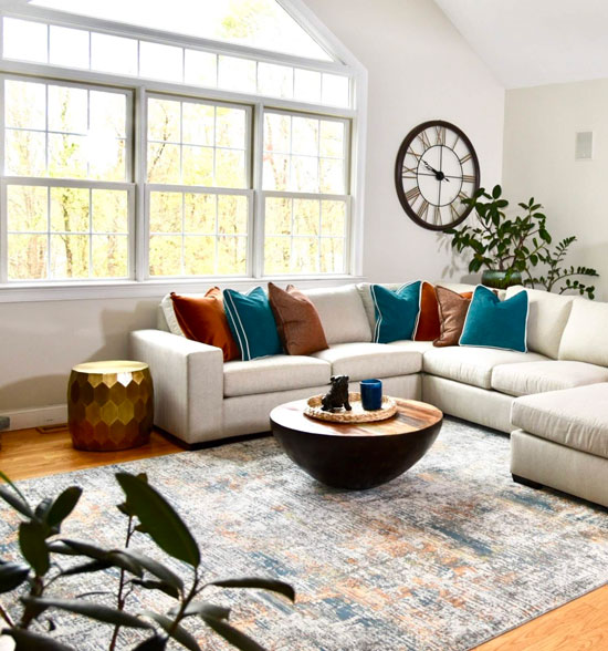 Light, Bright, and Moderns Colorful Family Room - Details Full Service Interiors - Interior Designer Near Me
