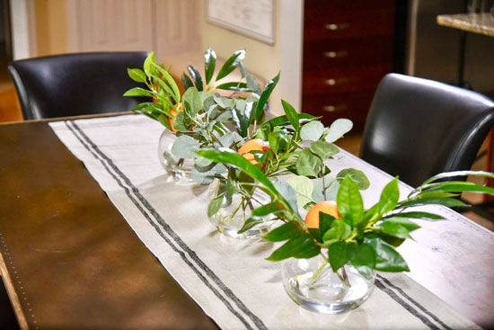 Orange - Dining Table Accessories - Plant Centerpieces - Details Full Service Interiors - Monson Interior Designer